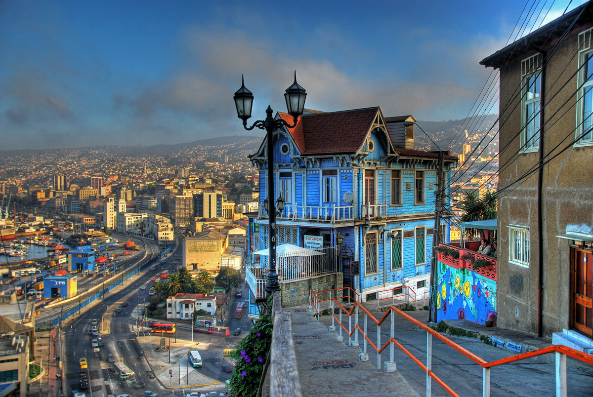 Panoramic view of Valparaiso from Playa Ancha hill
